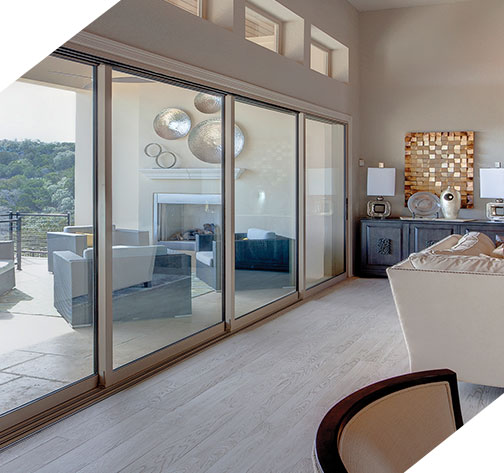 Milgard moving glass doors pacific shores windows for Moving glass wall